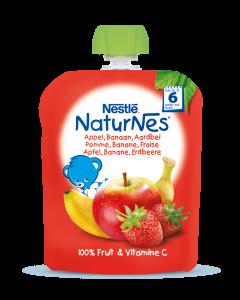 Piure Nestle NaturNes Mere, Banane si Capsune, 90g, de la 6 luni