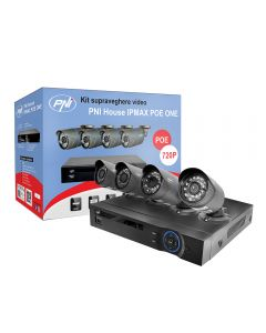 Kit supraveghere video PNI House IPMAX POE ONE 720P - NVR IP ONVIF si 4 camere HD cu IP 1.0 Mpx Power over