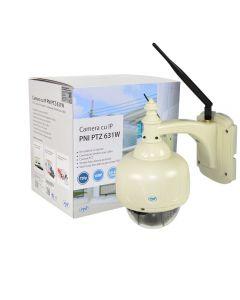 Camera supraveghere video PNI 631W dome cu IP de exterior cu PTZ si conectare wireless sau cablu, contine slot microSD