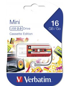 Verbatim Mini Usb Drive Cassette Edition Red 16Gb
