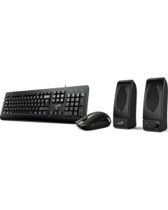 Kit Tastatura + Mouse optic + Boxe KMS U130 Genius, Cu fir, Negru