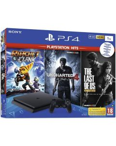 Consola PlayStation 4 1TB Slim + jocuri Uncharted 4, Ratchet&Clank,  The Last Of Us , Negru