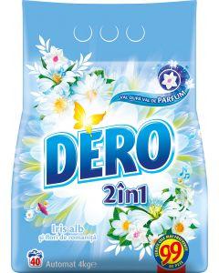 Detergent automat pudra Dero 2 in 1 Iris alb, 40 spalari, 4 kg