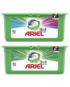 Pachet Promo: Detergent automat capsule Ariel 3in1 PODS Color, 28 spalari + Detergent Ariel 3in1 PODS Mountain Spring, 28 spalari