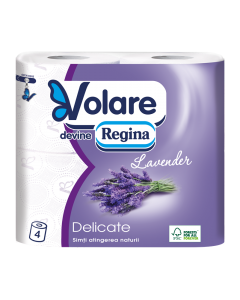 Hartie igienica Volare Delicate Lavender, 4 role, 3 straturi