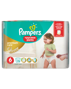Scutece-chilotel Pampers Premium Care Pants, Marime 6, 15+ kg, 36 buc