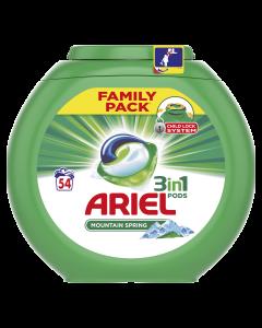 Detergent automat capsule Ariel 3in1 PODS Mountain Spring, 54 spalari