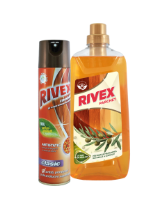 Spray mobila Rivex Floral, 300 ml + Detergent lemn Rivex, 1 L