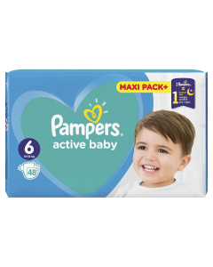 Scutece Pampers Active Baby Maxi Pack, Marime 6, 13-18 kg, 48 buc
