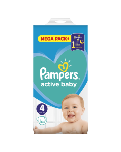 Scutece Pampers Active Baby Mega Pack, Marime 4, 9-14 kg, 132 buc