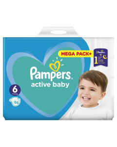 Scutece Pampers Active Baby Mega Pack, Marime 6, 13-18 kg, 96 buc