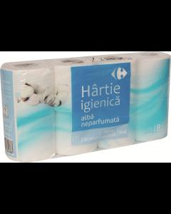Hartie igienica Carrefour Alba, neparfumata, 8 role, 3 straturi
