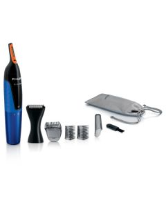 Trimmer NT5175/16 Philips, Lavabil, Tehnologie ProtecTube, Alimentare cu baterie, Negru