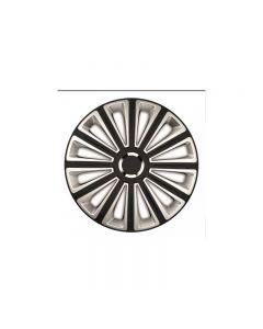 Set capace roti Mega Drive Trend, cu inel cromat, 14 Inch, Argintiu/Negru