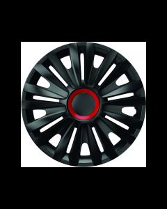 Set capace roti Mega Drive Royal, cu inel rosu, 16 Inch, Negru