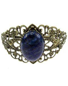 Bratara bronz antic cu lapis lazuli 25x18 MM, GlamBazaar, Reglabila, cu Lapis Lazuli, Albastru, tip bratara statement cu pietre naturale