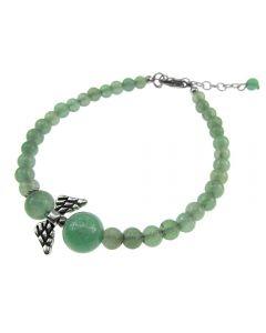 Bratara ingeras din aventurin verde natural, GlamBazaar, 18 cm, cu Aventurin, Verde, tip bratara handmade cu pietre naturale