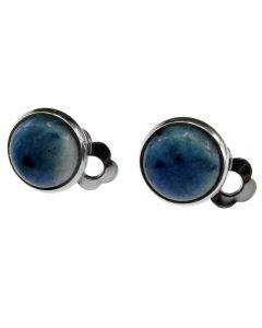 Cercei clips cu piatra naturala sodalit albastru 10 MM, GlamBazaar, 10 mm, cu Sodalit, Albastru, tip cercei clips cu pietre naturale