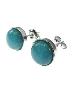 Cercei argint cu angelit natural 8 MM, GlamBazaar, 9 mm, cu Angelit, Bleu, tip cercei de argint 925 cu pietre naturale