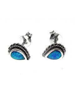 Cercei argint lacrima cu opal imperial 8x6 MM, GlamBazaar, cu Opal, Albastru, tip cercei de argint 925 cu pietre naturale