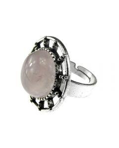 Inel aliaj reglabil cu cuart roz natural`, GlamBazaar, cu Cuart roz, Roz, tip inel din aliaj metalic reglabil cu pietre naturale
