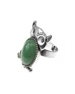 Inel aliaj reglabil model bufnita cu aventurin natural, GlamBazaar, cu Aventurin, Verde, tip inel din aliaj metalic reglabil cu pietre naturale