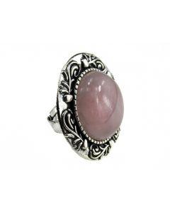 Inel masiv reglabil cu cuart roz, GlamBazaar, cu Cuart roz, Roz, tip inel din aliaj metalic reglabil cu pietre naturale
