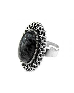 Inel masiv reglabil cu obsidian fulg de nea, GlamBazaar, cu Obsidian, Gri, Negru, tip inel din aliaj metalic reglabil cu pietre naturale