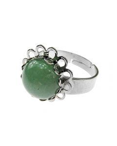Inel aliaj reglabil model floricica cu aventurin natural, GlamBazaar, cu Aventurin, Verde, tip inel din aliaj metalic reglabil cu pietre naturale