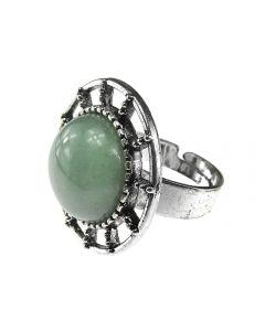 Inel aliaj reglabil cu aventurin verde natural, GlamBazaar, cu Aventurin, Verde, tip inel din aliaj metalic reglabil cu pietre naturale