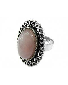 Inel reglabil cu cuart roz oval, GlamBazaar, cu Cuart roz, Roz, tip inel din aliaj metalic reglabil cu pietre naturale