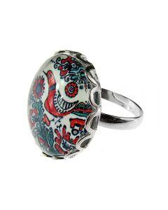 Inel aliaj reglabil cu model folcloric cuc, GlamBazaar, cu Fara pietre, Rosu, Albastru, tip inel din aliaj metalic reglabil cu pietre naturale