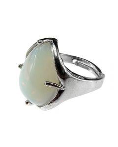 Inel aliaj reglabil cu piatra opalit, GlamBazaar, cu Opal, Translucid, tip inel din aliaj metalic reglabil cu pietre naturale