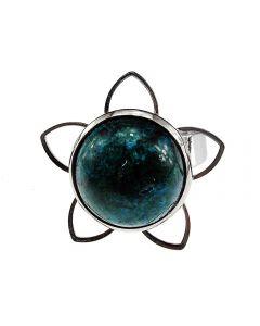Inel reglabil model floare cu crisocolla, GlamBazaar, cu Lapis chrysocolla, Verde, tip inel din aliaj metalic reglabil cu pietre naturale