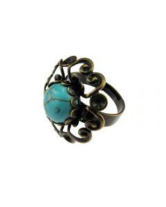 Inel reglabil bronz antic dantela cu turcoaz, GlamBazaar, cu Turcoaze, Turcoaz, tip inel din aliaj metalic reglabil cu pietre naturale