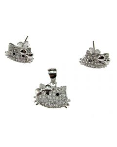 Set argint Hello Kitty cu zirconia, GlamBazaar, cu Fara pietre, Argintiu, tip set bijuterii de argint 925 cu pietre naturale