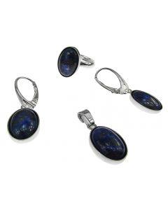 Set argint cu lapis lazuli natural 14x10 MM, GlamBazaar, cu Lapis Lazuli, Albastru, tip set bijuterii de argint 925 cu pietre naturale