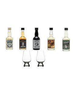 Whisky scotian pachet degustare miniaturi 5 X 50 ml cu doua pahare Glencairn