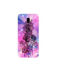 Husa Silicon Soft Upzz Print Samsung J6+ Plus 2018 Model Neon Rose