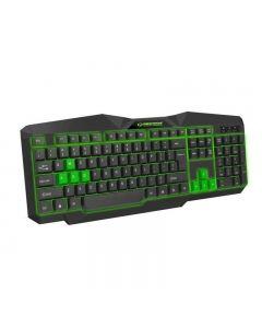 Tastatura gaming iluminata LED verde , design profesional gaming, forma ergonomica, USB, cablu 1.5m taste imprimate cu culoare permanenta