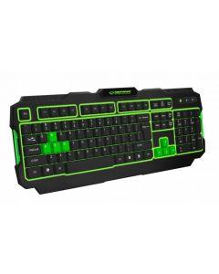 Tastatura gaming iluminata, cu Led verde, design profesional pentru gaming, USB, cablu 1.5M