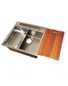 Set chiuveta bucatarie inox CookingAid Hera Space Plus cu 3 accesorii Scurgator Vase + Dozator Sapun Inox + Tocator Lemn Sapele, 860mm x 500 mm, adancime cuva 230mm, montare pe blat, finisaj satinat