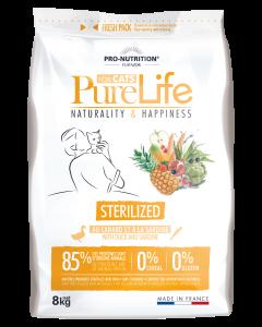 Hrana uscata grain free pentru pisici adulte sterilizate, Pure Life cu Rata si Sardine, 8 kg
