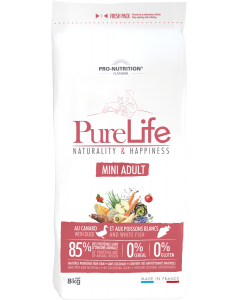 Hrana uscata grain free pentru caini, Flatazor PureLife Mini Adult cu rata si peste alb, 8 kg