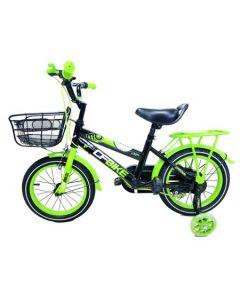 Bicicleta copii CFBIKE, 14 inch, Negru-Verzui, Cadru otel, Roti ajutatoare silicon led, Cosulet, Portbagaj, Varsta 3-6 ani