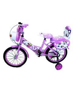 Bicicleta pentru fetite AyBaby, 16 inch, Roz, Cadru otel, Roti ajutatoare, Spite groase colorate, Portbagaj, Varsta 5-9 ani