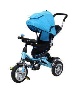 Tricicleta de Copii Miweba, 7 in 1, Albastru, Roti cauciuc, Frane roti, Scaun rotativ, Marca Germana