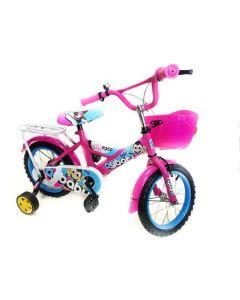 Bicicleta copii AyBaby, 14 inch, Roz, Cadru otel, Roti ajutatoare, Cosulet fata, Portbagaj, Varsta 3-6 ani