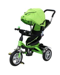Tricicleta de Copii Miweba, 7 in 1, Verde, Roti cauciuc, Frane roti, Scaun rotativ, Marca Germana