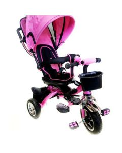 Tricicleta copii 4 in 1 BabyKing Pink/Roz, Multifunctionala, Scaun rotativ, Suport picioare, Capotina detasabila